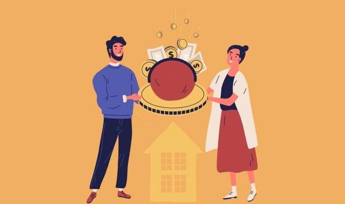 Mann und Frau halten Geld