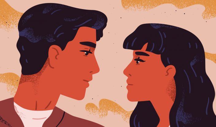 Mann und Frau schauen sich an