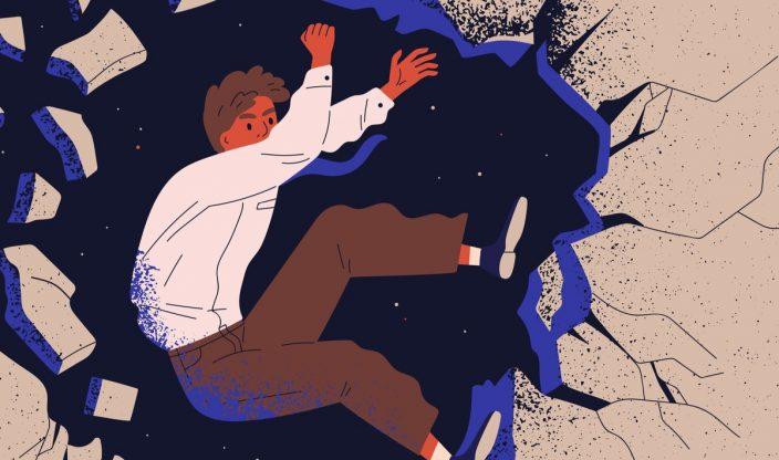 Mensch fällt ins Loch