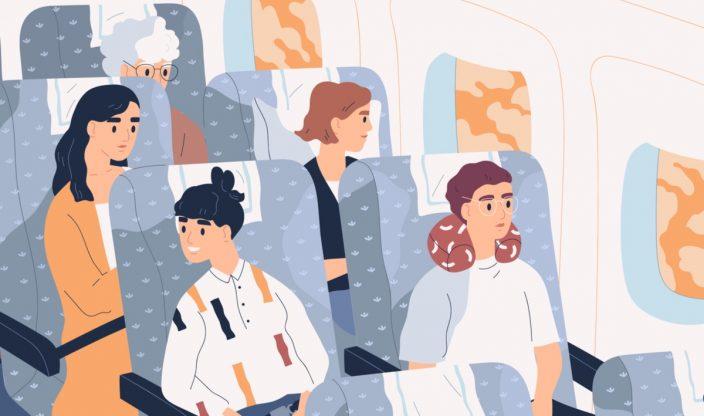 Menschen sitzen in einem Flugzeug