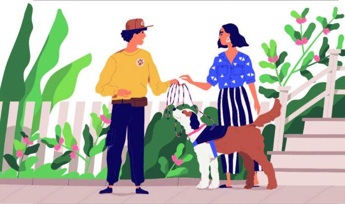 Zwei Menschen mit Hund