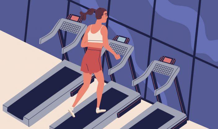 Frau auf Laufband