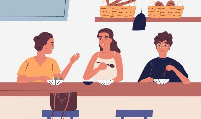 Frau unterhält sich mit Freunden