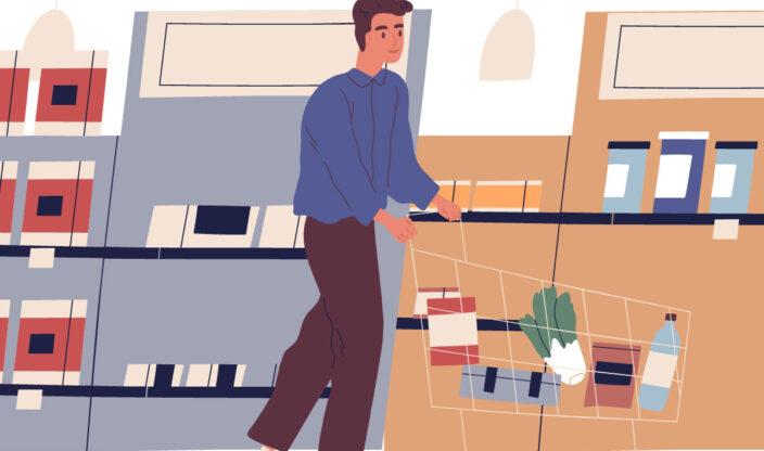 Mann geht Einkaufen
